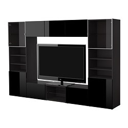 BESTÅ TV storage combination, high-gloss black, black-brown Width: 300 cm Depth: 40 cm Height: 192 cm