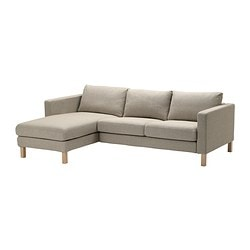 KARLSTAD two-seat sofa and chaise longue, Tenö light grey Width: 244 cm Min. depth: 93 cm Max. depth: 158 cm