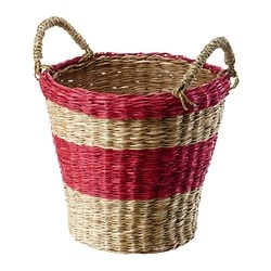 SALMBÄR plant pot, red, striped Outside diameter: 28 cm Max. diameter flowerpot: 24 cm Height: 26 cm