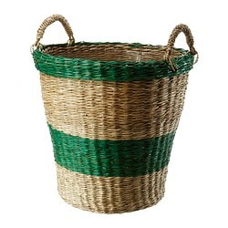 SALMBÄR plant pot, green, striped Outside diameter: 38 cm Max. diameter flowerpot: 32 cm Height: 38 cm