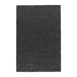 ALHEDE rug, high pile, black Length: 195 cm Width: 133 cm Surface density: 3550 g/m²