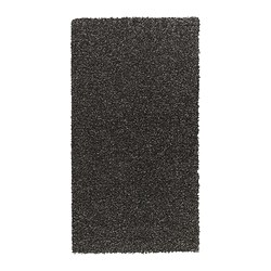 ALHEDE rug, high pile, black Length: 150 cm Width: 80 cm Surface density: 3550 g/m²