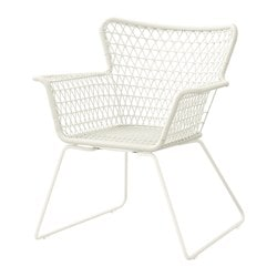 HÖGSTEN chair with armrests, outdoor, white Width: 73 cm Depth: 65 cm Height: 83 cm