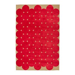 "IKEA PS 2012 rug, low pile, beige, red Length: 9 ' 10 "" Width: 6 ' 7 "" Surface density: 7 oz/sq ft Length: 300 cm Width: 200 cm Surface density: 2100 g/m²"