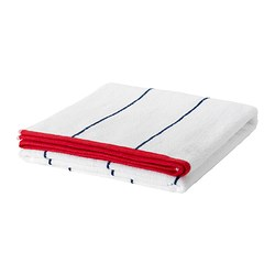MYRVIKEN bath sheet, blue/red, white Length: 150 cm Width: 100 cm Surface density: 600 g/m²