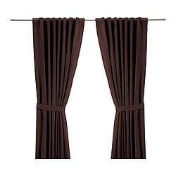 RITVA curtains with tie-backs, 1 pair, medium brown Length: 300 cm Width: 145 cm Area: 4.35 m²