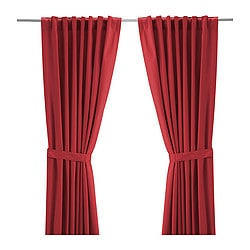 "RITVA curtains with tie-backs, 1 pair, red Length: 98 "" Width: 57 "" Area: 39.07 sq feet Length: 250 cm Width: 145 cm Area: 3.63 m²"