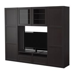 BESTÅ storage combination, black-brown Width: 240 cm Depth: 40 cm Height: 192 cm