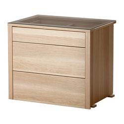 "KOMPLEMENT interior chest of drawers, white stained oak Frame, width: 29 1/2 "" Frame, depth: 22 7/8 "" Depth of drawer: 17 3/4 "" Frame, width: 74.8 cm Frame, depth: 58.0 cm Depth of drawer: 45 cm"