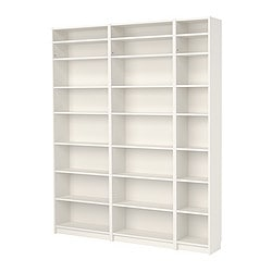 "BILLY bookcase with height extension unit, white Width: 78 3/4 "" Depth: 11 "" Height: 93 1/4 "" Width: 200 cm Depth: 28 cm Height: 237 cm"