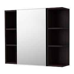 LILLÅNGEN, Mirror cabinet 1 door/2 end units, black-brown