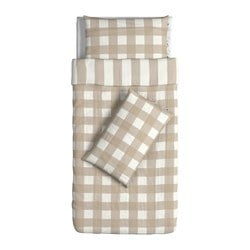 EMMIE RUTA quilt cover and 2 pillowcases, white, beige Quilt cover length: 200 cm Quilt cover width: 150 cm Pillowcase length: 50 cm