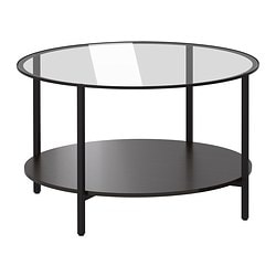 "VITTSJÖ coffee table, glass, black-brown Diameter: 29 1/2 "" Height: 17 3/4 "" Diameter: 75 cm Height: 45 cm"
