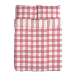 "EMMIE RUTA duvet cover and pillowcase(s), white, pink Duvet cover length: 86 "" Duvet cover width: 86 "" Pillowcase length: 20 "" Duvet cover length: 218 cm Duvet cover width: 218 cm Pillowcase length: 51 cm"