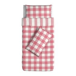 EMMIE RUTA quilt cover and 2 pillowcases, white, pink Quilt cover length: 200 cm Quilt cover width: 150 cm Pillowcase length: 50 cm