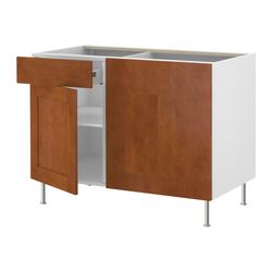 "AKURUM corner base cabinet with shelf, Ädel medium brown, white Width: 48 7/8 "" Depth: 25 1/2 "" Height: 30 3/8 "" Width: 124 cm Depth: 64.7 cm Height: 77.1 cm"