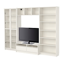BILLY bookcase combination with TV bench, white Width: 280 cm Max. depth: 39 cm Height: 202 cm