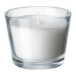 MÅTTFULL scented candle in glass, white Height: 6 cm Burning time: 17 hr