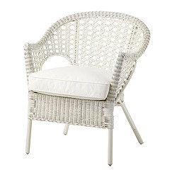 FINNTORP/ DJUPVIK armchair with cushion, white