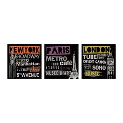 PJÄTTERYD picture, set of 3, cities Width: 25 cm Height: 25 cm