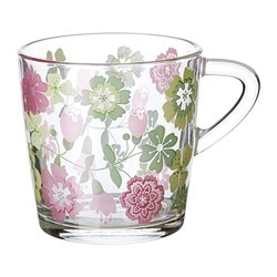 IDEELL mug, green, pink Height: 8 cm Volume: 21 cl