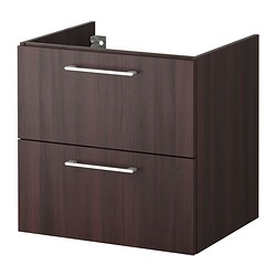GODMORGON wash-stand with 2 drawers, black-brown Width: 60 cm Depth: 47 cm Height: 58 cm