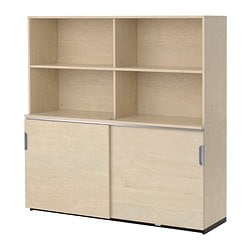 GALANT storage combination w sliding doors, birch veneer Width: 160 cm Depth: 45 cm Height: 160 cm