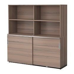 GALANT storage combination w sliding doors, grey Width: 160 cm Depth: 45 cm Height: 160 cm