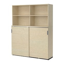 GALANT storage combination w sliding doors, birch veneer Width: 160 cm Depth: 45 cm Height: 200 cm