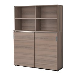 GALANT storage combination w sliding doors, grey Width: 160 cm Depth: 45 cm Height: 200 cm