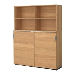 GALANT storage combination w sliding doors, oak veneer Width: 160 cm Depth: 45 cm Height: 200 cm