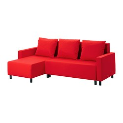 LUGNVIK sofa bed with chaise longue, Tallåsen red Width: 223 cm Depth: 83 cm Max. depth: 136 cm