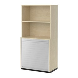 GALANT storage combination with roll-front, birch veneer Width: 80 cm Depth: 45 cm Height: 160 cm