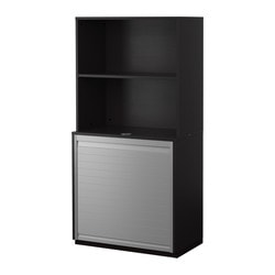 GALANT storage combination with roll-front, black-brown Width: 80 cm Depth: 45 cm Height: 160 cm