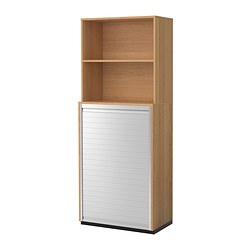 GALANT storage combination with roll-front, oak veneer Width: 80 cm Depth: 45 cm Height: 200 cm