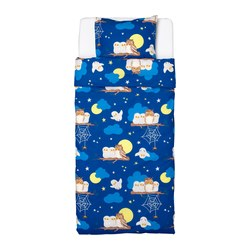 VANDRING UGGLA quilt cover and pillowcase, dark blue Quilt cover length: 200 cm Quilt cover width: 150 cm Pillowcase length: 50 cm