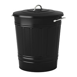 "KNODD bin with lid, black Diameter: 16 ¼ "" Height: 20 "" Volume: 11 gallon Diameter: 41 cm Height: 51 cm Volume: 40 l"