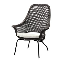 AMMERÖ armchair with pad, beige, dark brown Width: 78 cm Depth: 79 cm Height: 97 cm