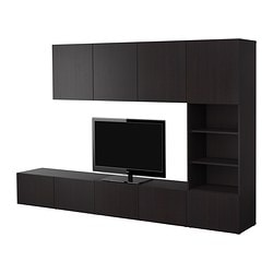 BESTÅ storage combination, black-brown Width: 300 cm Depth: 40 cm Height: 192 cm