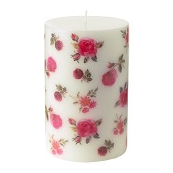SPANA unscented block candle, rose Diameter: 8 cm Height: 12.5 cm Burning time: 45 hr