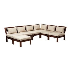 ÄPPLARÖ sofa combination, beige, brown Total depth: 237 cm Height: 73 cm Seat depth: 63 cm