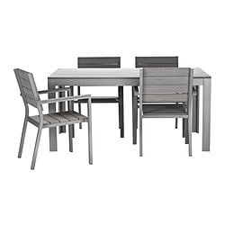 FALSTER table and 4 chairs with armrests, grey