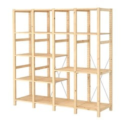 "IVAR 4 sections with shelves, pine Width: 70 1/2 "" Depth: 19 5/8 "" Height: 70 1/2 "" Width: 179 cm Depth: 50 cm Height: 179 cm"