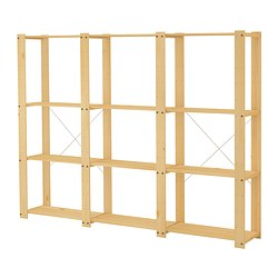 GORM 3 sections/shelves, softwood Width: 239 cm Depth: 35 cm Height: 174 cm