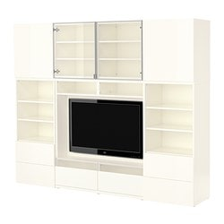 BESTÅ TV/storage combination, high-gloss white, white Width: 240 cm Depth: 40 cm Height: 192 cm