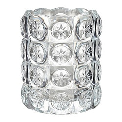 "FLEST tealight holder, clear glass Diameter: 2 ¾ "" Height: 3 ¼ "" Diameter: 7 cm Height: 8 cm"