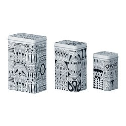 TRIPP tin with lid, set of 3, white patterned, black Length: 12 cm Width: 8 cm Height: 18 cm