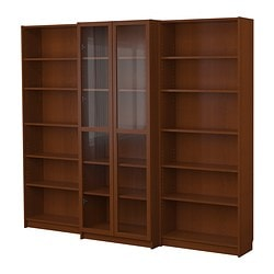 "BILLY bookcase combination with doors, medium brown Width: 94 1/2 "" Min. depth: 11 "" Max. depth: 15 3/8 "" Width: 240 cm Min. depth: 28 cm Max. depth: 39 cm"