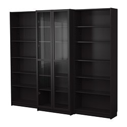BILLY bookcase combination with doors, black-brown Width: 240 cm Min. depth: 28 cm Max. depth: 39 cm