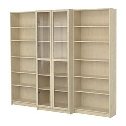 BILLY bookcase combination with doors, birch veneer Width: 240 cm Min. depth: 28 cm Max. depth: 39 cm